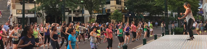 Zumba on the Fountain Plaza in Silver Spring